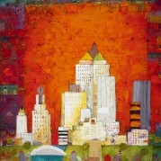 "ABVI Cityscape, Encaustic and Mixed Media on Cradled Birch Panel, 40 3/4"" x 52"". ABVI clients are invited to experience the painting by feeling the painting's highly textured surface."