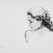 "Over the Shoulder - 24"" x 18"", Charcoal on 100# Vellum Bristol SOLD"