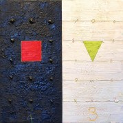"3+4=the 7 - 24.5""x24"", Encaustic/Oil on floating panel"