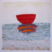 "Crimson-Colored Ruby Ark - 30""x30""x 2 1/8"", Encaustic/Mixed Media SOLD"