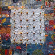 "Carey Corea, ""Naw Ruz"", Encaustic on panel, 30""x30"""