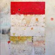 "Red Square - 36""x48"", Encaustic/Oil on canvas"
